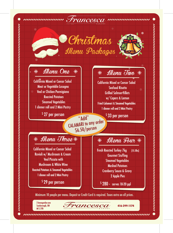 Christmas Catering Menu