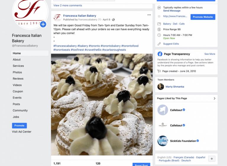 Francesca Bakery Facebook Page during Easter